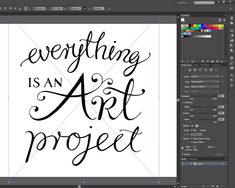 Hand lettering process - vector