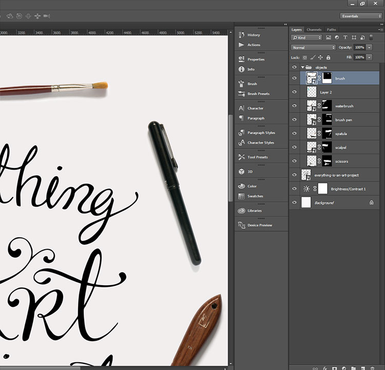 Hand lettering process - photo montage