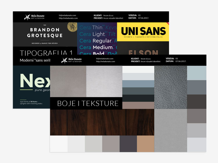 Brand moodboard - typography, colors and textures