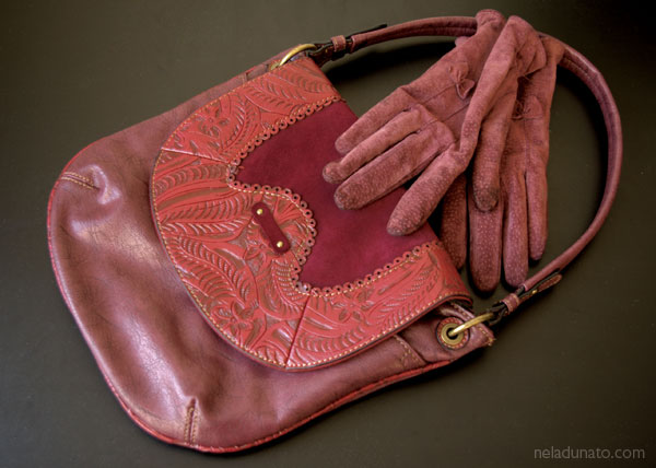 Burgundy leather purse and gloves