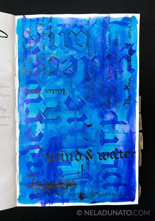 Calligraphy mixed media art journal