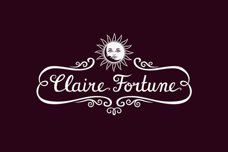 Claire Fortune hand-lettered logo design by Nela Dunato