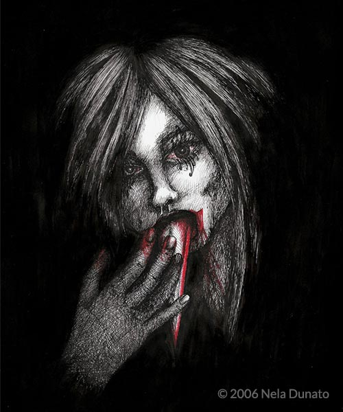 Sharp Tongue by Nela Dunato, ink drawing