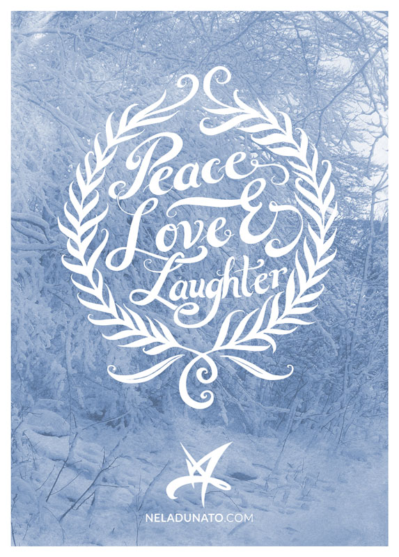Peace Love Laughter hand lettered greeting card
