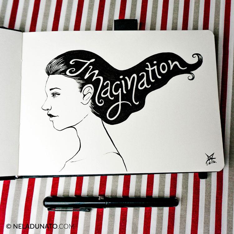 Inktober sketch: Imagination hand lettering