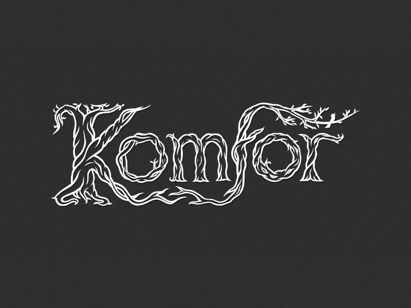 Hand-lettered logo design for the band Komfor by Nela Dunato