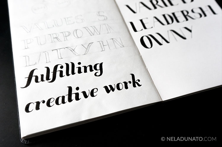Fulfilling creative work hand-lettered sketch