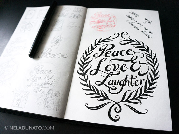 Peace Love Laughter hand-lettering sketch