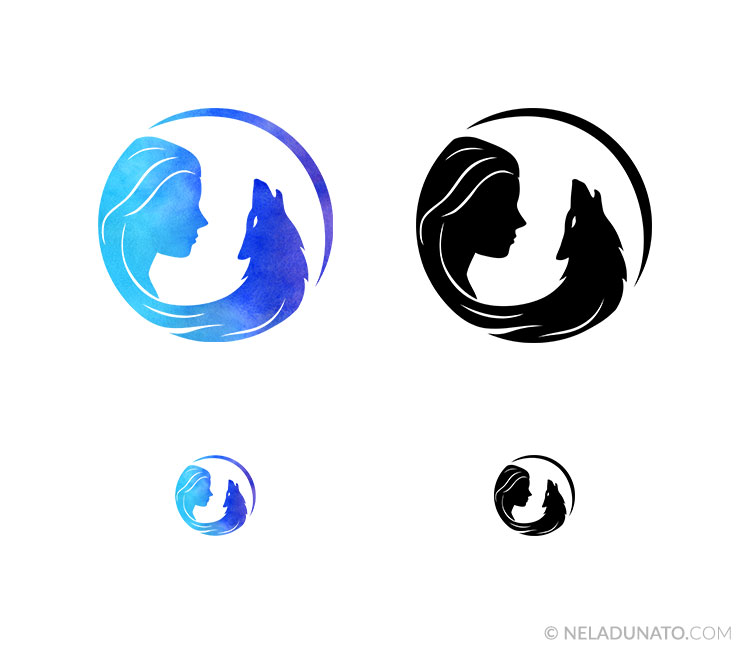 Logo design in different colors and sizes