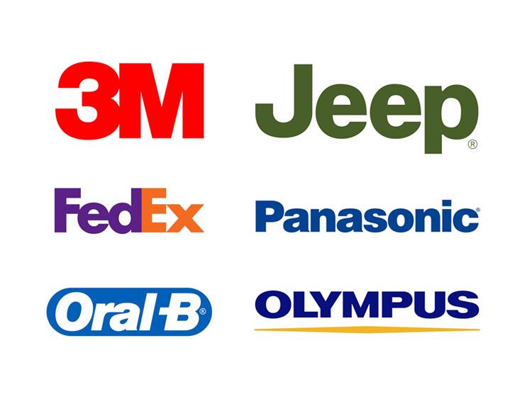 Logo designs based on Helvetica font