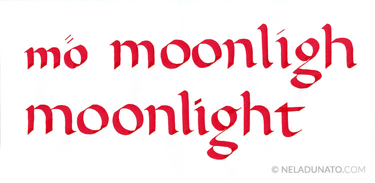 Moonlight lettering process - calligraphy