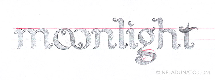 Moonlight lettering process - sketch