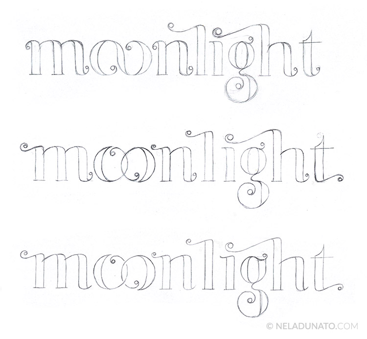 Moonlight lettering process - sketch