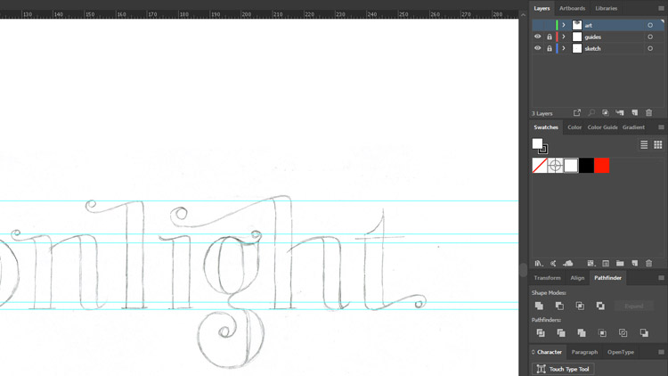 Moonlight lettering process - vector