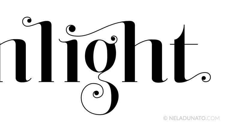 Moonlight lettering process - vector