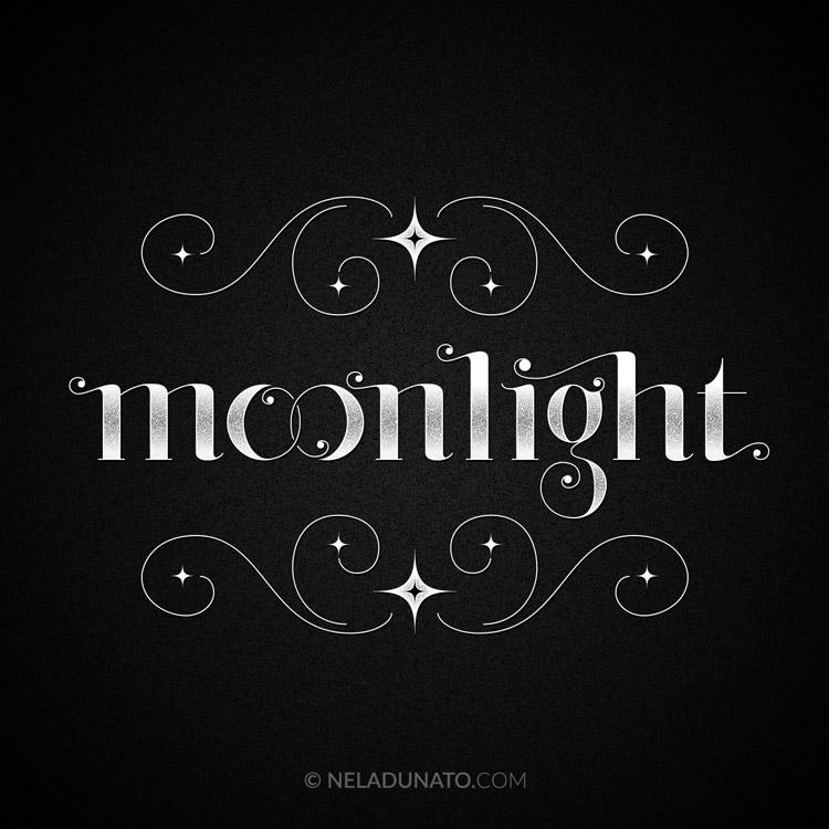 Moonlight lettering by Nela Dunato