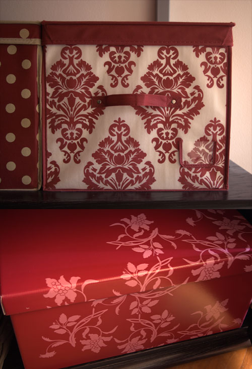Red flourish cardboard boxes