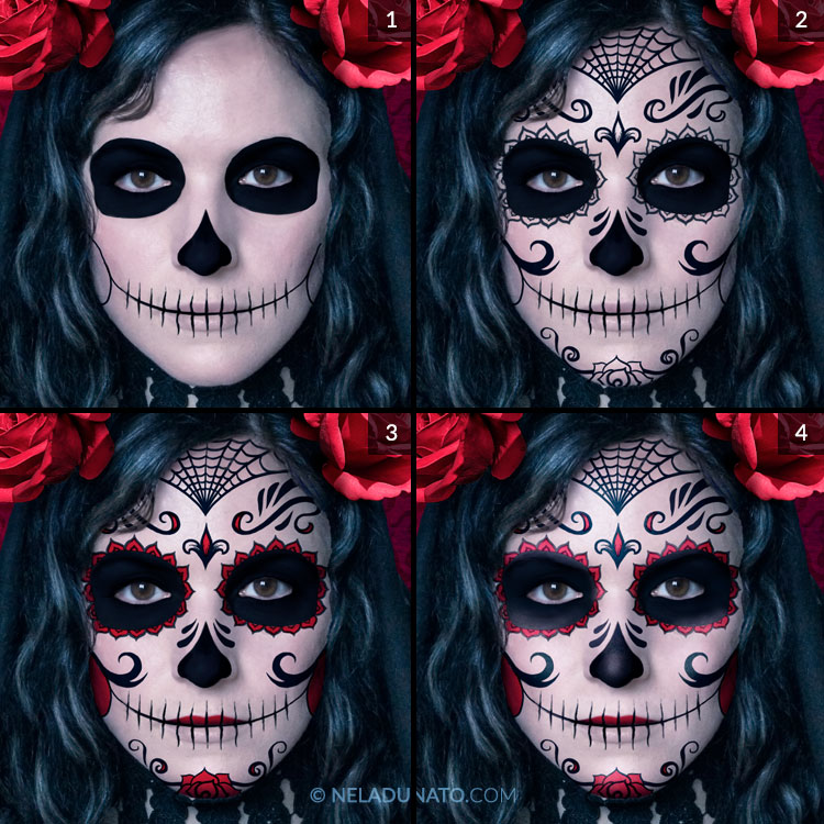 Santa Muerte photo-manipulation process - digital face paint