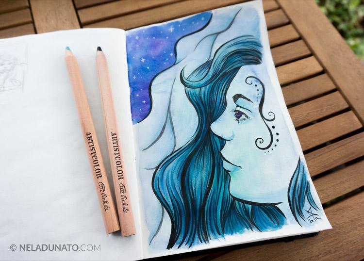 Sketchbook: Aqua Lady #2 - ink, watercolor and colored pencil