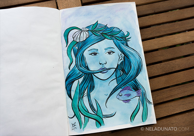 Sketchbook: Aqua Lady #3 - ink, watercolor and colored pencil