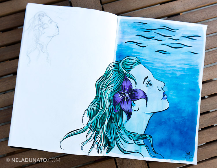 Sketchbook: Aqua Lady #4 - ink, watercolor and colored pencil