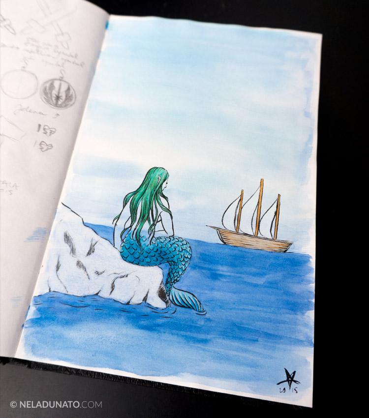 Sketchbook: Aqua Lady #5 - ink, watercolor and colored pencil