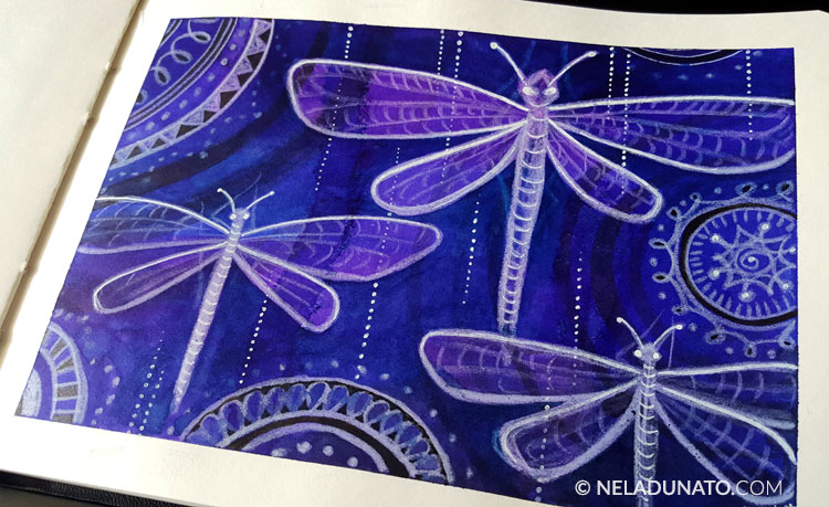 Mixed media art journal sketchbook by Nela Dunato: Dragonflies