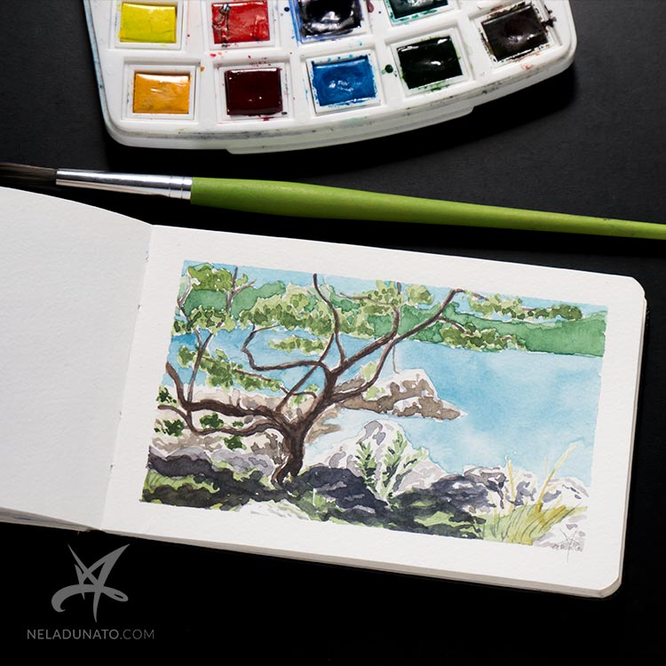 Sketchbook watercolor seascape: Small oak tree