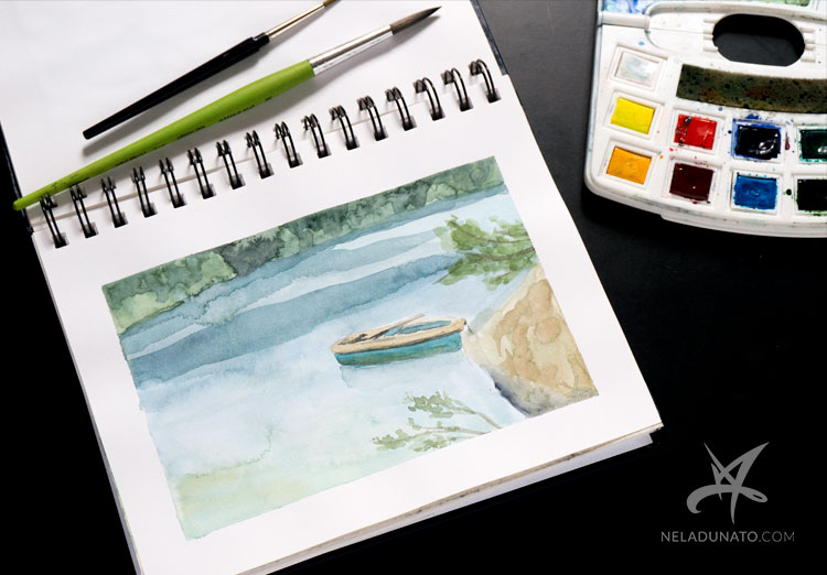 Sketchbook watercolor landscape: Lake Lokve