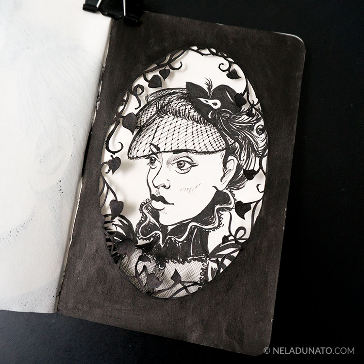 Sketchbook drawing - papercut framed Victorian portrait
