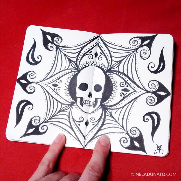 Sketchbook drawing - skull mandala doodle