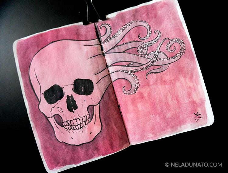 Sketchbook drawing - skull doodle