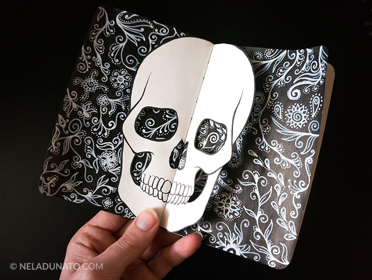 Sketchbook drawing - papercut skull doodle