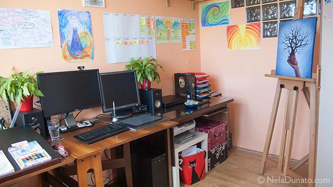 My studio: work desk, easel, shelves & boxes