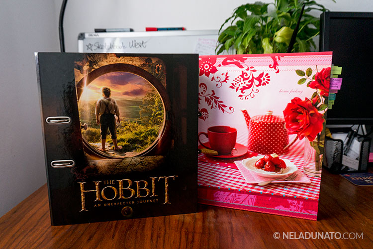 My business binders - The Hobbit and red polkadot tea party