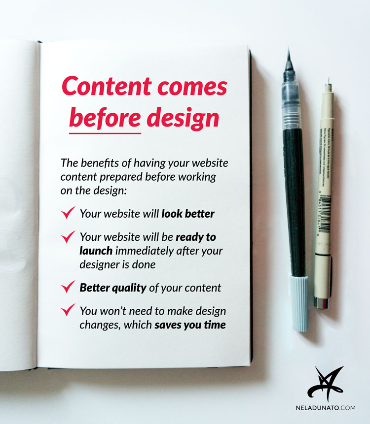 Create content before you hire a web designer