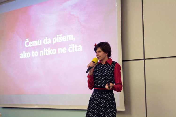 Nela Dunato speaking at 10th WordPress Meetup Zagreb